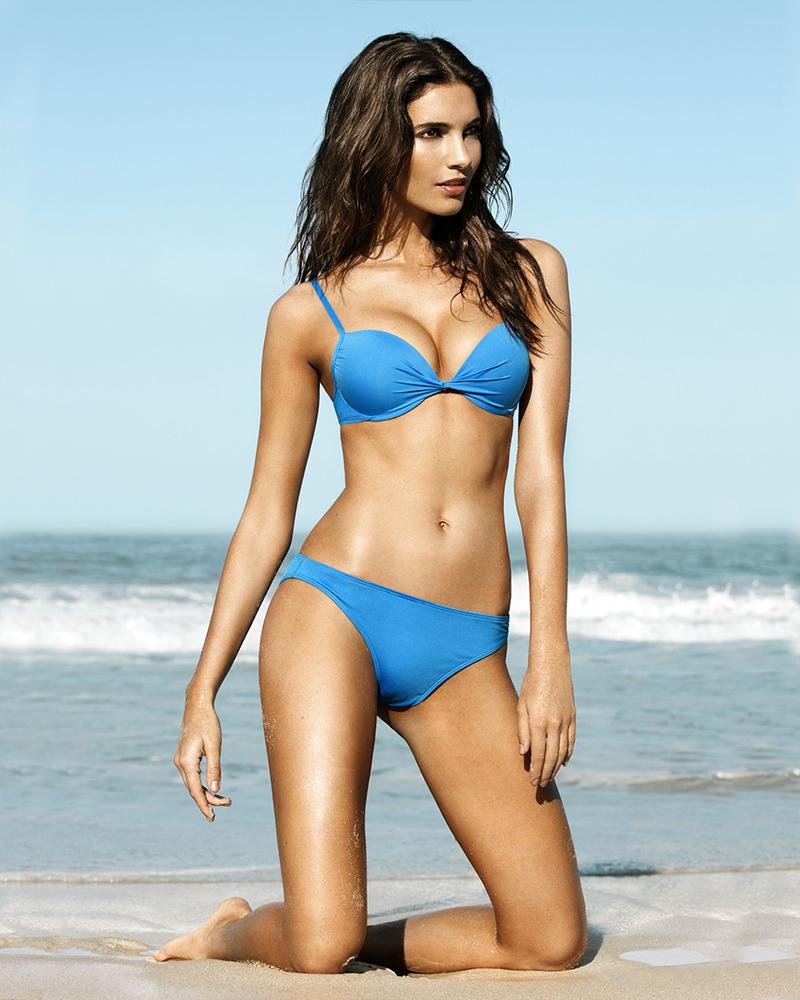 Teresa Moore wearing Blue Bikini in the beach
