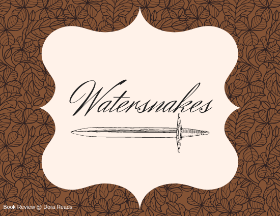 Watersnakes title graphic, with a sword shape underlining the word