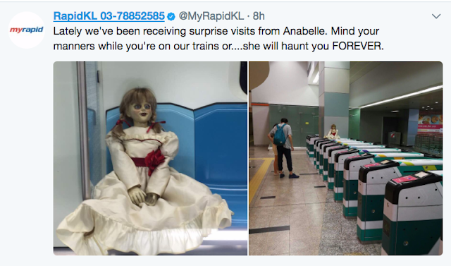Patung Annabelle Ditemui di LRT, MRT Rapid KL
