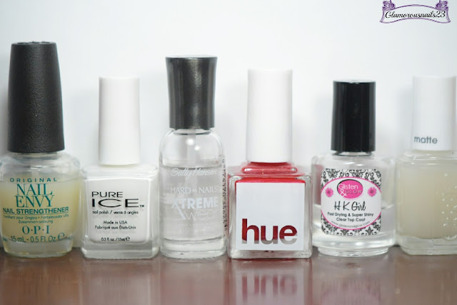 Original Nail Envy, Pure Ice Super Star, Sally Hansen Xtreme Wear Invisible, Square Hue The Neiuwmarkt, Glisten & Glow HK Girl Fast Drying Top Coat, Essie Matte About You