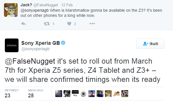 Sony Xperia Z3 Plus, Z4 Tablet dan Z5 akan mendapatka update Android Marshmallow mulai 7 Maret