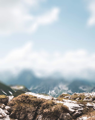 White Blue Sky With Mountain Blur Background Stock