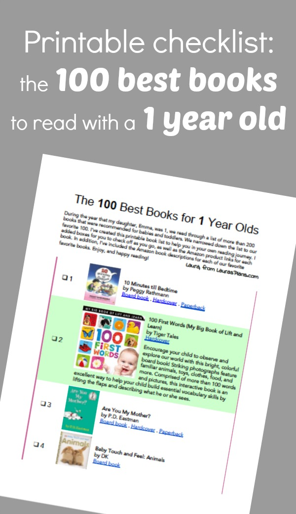 The 100 best books to read with a one year old- This website contains a printable checklist of 100 great books for a one year old. Print and take it with you to the library, or download and email to friends and family as gift ideas for a one year birthday.