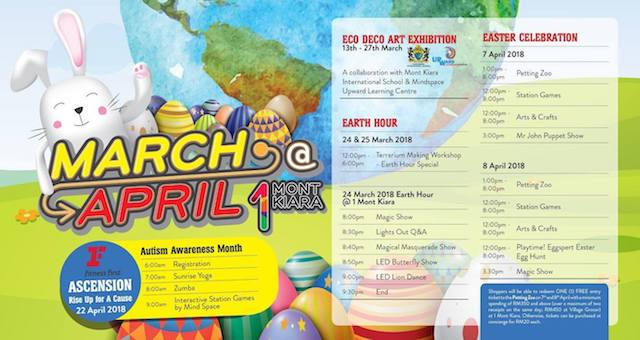 Check out the awesome schedule on what's happening at 1 Mont Kiara this March and April 2018