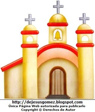 Dibujo de iglesia a color para niños. Iglesia de Jesus Gómez