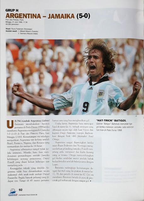 PIALA DUNIA 1998: GRUP H ARGENTINA VS JAMAIKA (5-0)