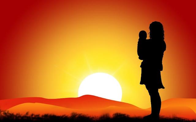 Bebés, puesta de sol