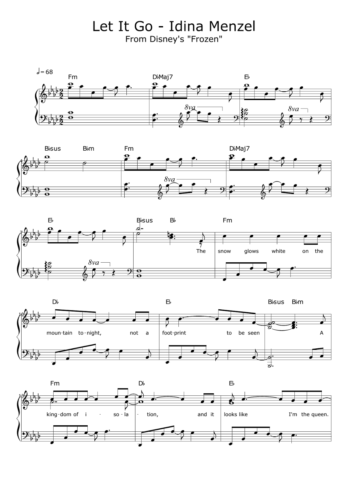Do You Want to Build a Snowman Sheet Music Frozen PDF Free Download