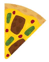 カットされたピザのイラスト(バーベキュー)