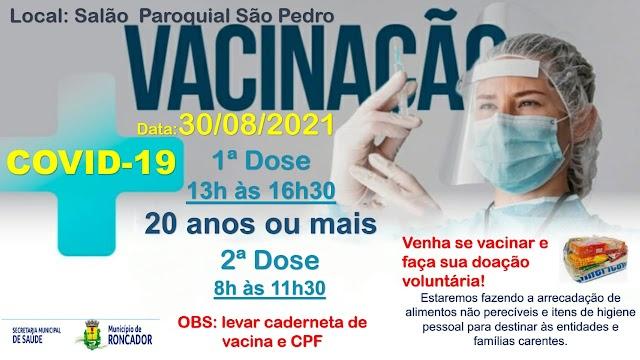 Confira a programação de vacinação para esta segunda-feira 30 de agosto em Roncador