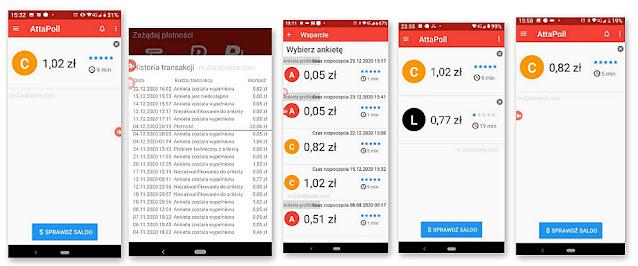 Płatne ankiety w aplikacji mobilnej AttaPoll.