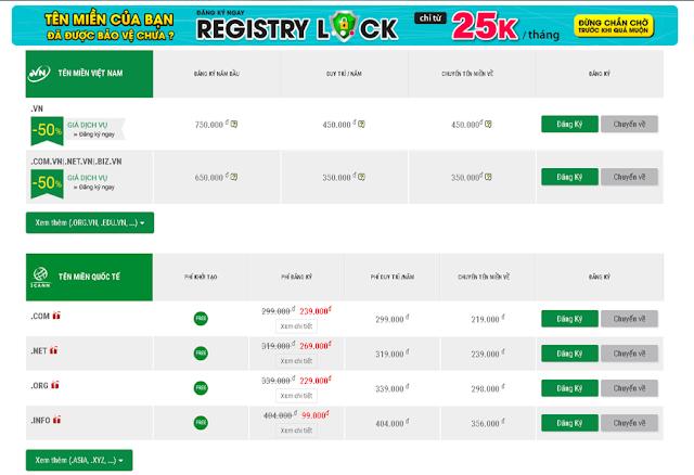 Bảng giá tên miền (domain) giá rẻ nhất Vietnam