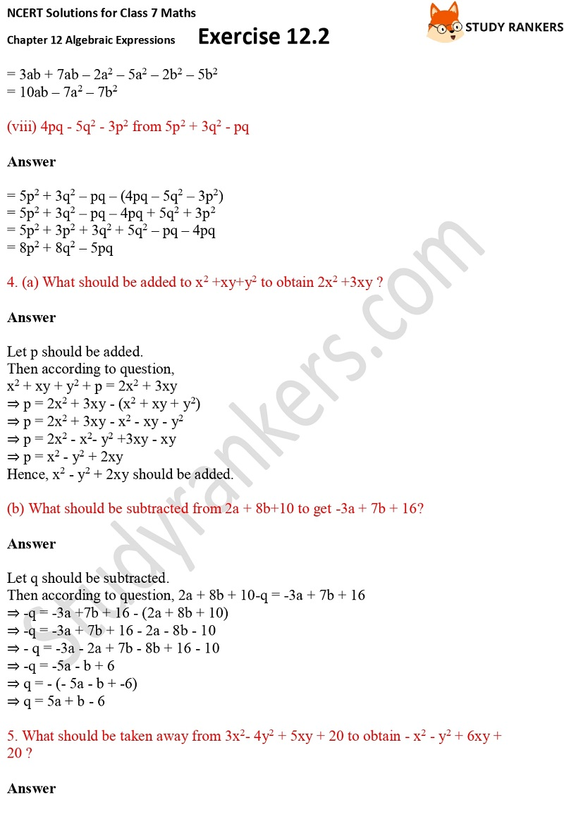NCERT Solutions for Class 7 Maths Ch 12 Algebraic Expressions Exercise 12.2 7