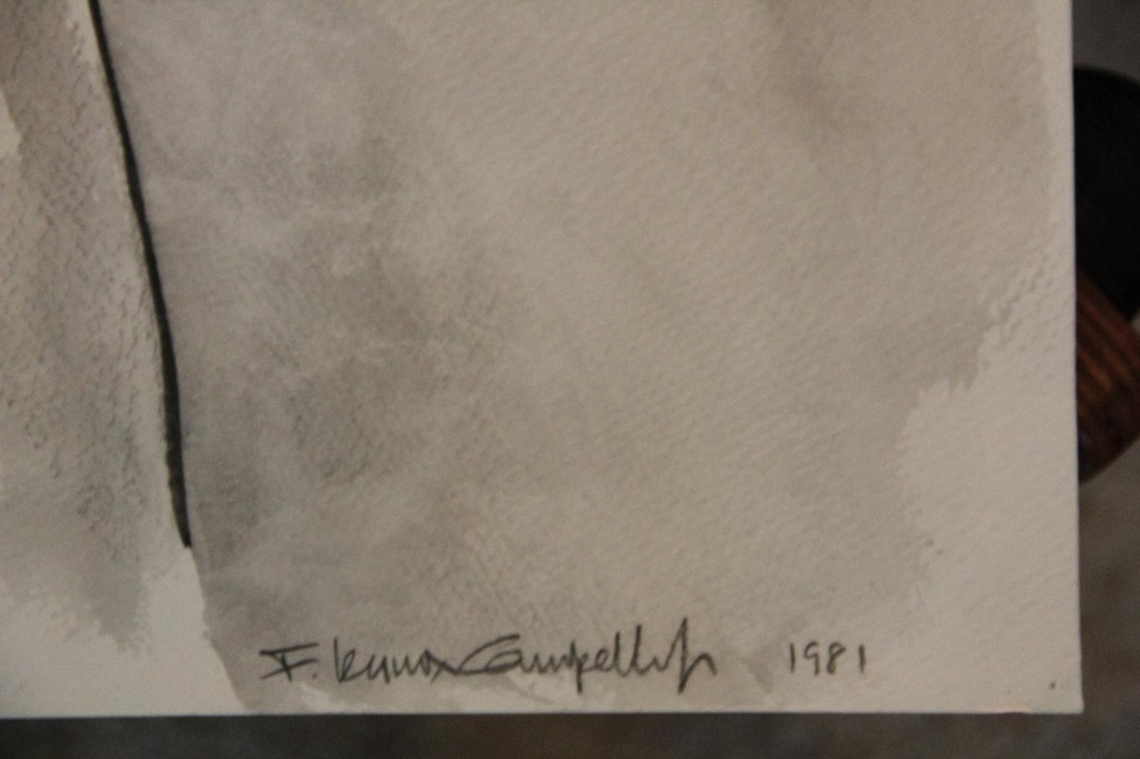 Confirmed signature on Male Nude Back, pen and ink wash by F. Lennox Campello 1981