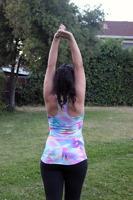 Lucy Activewear Kaleidoscope Racerback and Black Pocket Capri Leggings Fitness Outfit