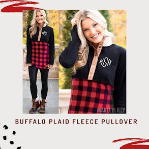 monogrammed buffalo plaid fleece pullover