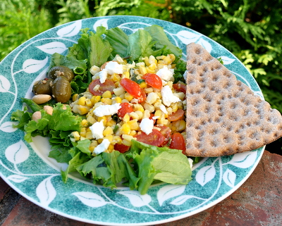 Fresh Corn & Tomato Salad served as a summer salad supper ♥ KitchenParade.com, so simple, much more than the sum of its parts.