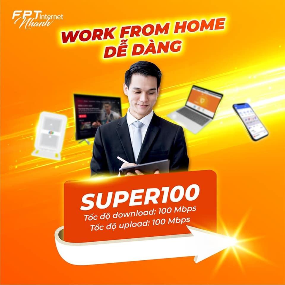 Internet FPT gói Supper100 giá rẻ chỉ 255.000 đ/tháng