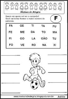 Formar palavras com a letra f