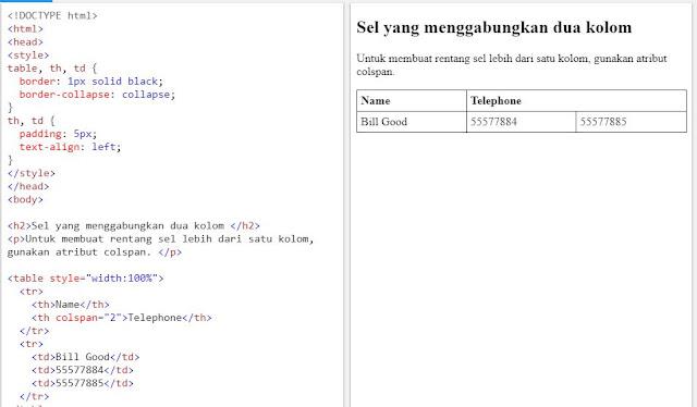 HTML Table - Sel Span Banyak Kolom