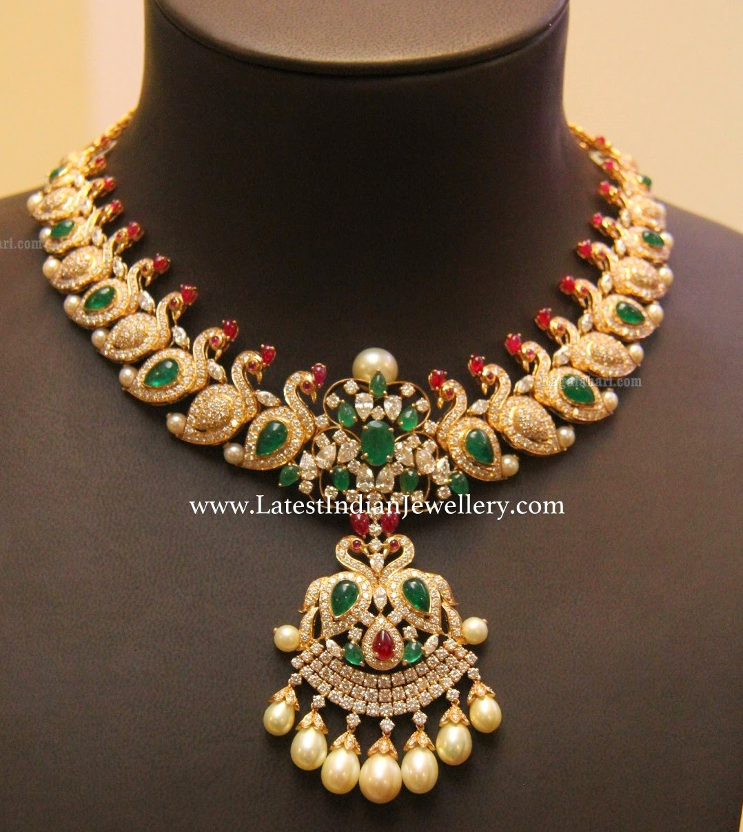 Parrot Design Diamond Bridal Necklace Latest Indian