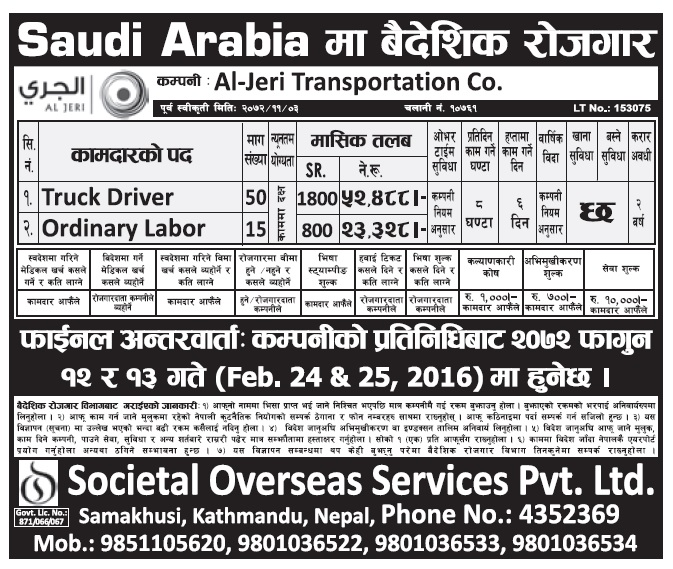 Jobs in Saudi Arabia for Nepali, Salary Up to Rs 52,488
