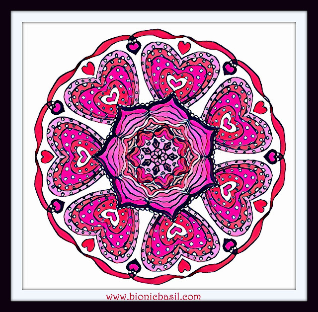 Mandalas on Monday ©BionicBasil® Colouring With Cats Mandala #110 coloured by Cathrine Garnell