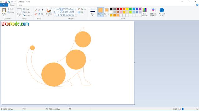cara membuat gambar ekor kucing lewat paint