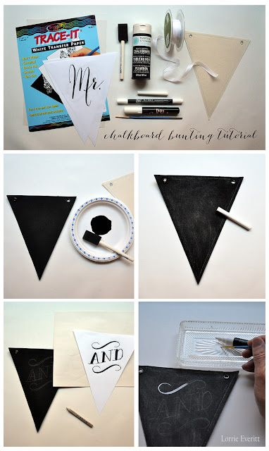 chalkboard bunting tutorial by Lorrie Everitt | lorrieeverittstudio.blogspot.ca