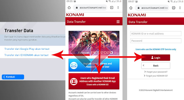 Cara Menuatkan Data PES Mobile ke KONAMI ID