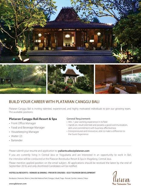 Lowongan kerja Plataran Canggu Bali Resort and Spa September 2018