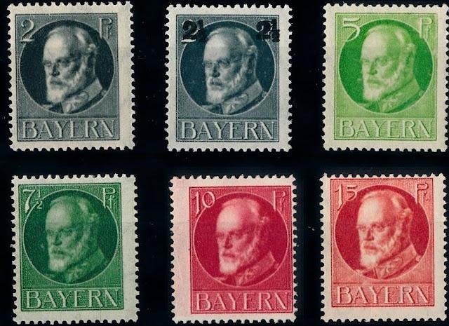 Germany Bayern Bavaria 1916 King Ludwig III New Values and Colors