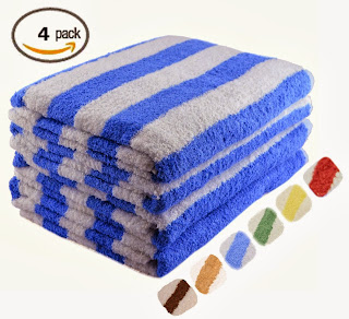 "Large Beach-Towel Pool-Towel in Cabana Stripe- Blue, 4-Pack, 100% Cotton, Easy Care, Maximum Softness and Absorbency (30"" x 60"") by Utopia Towel"