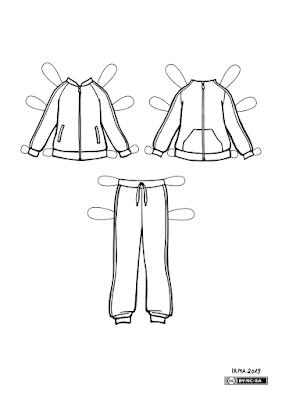 Kaks dressipluusi ja dressipüksid Fredikesele. Vasakpoolsel pluusil on sisse õmmeldud taskud. Parempoolsel on kängurutasku. Mõlemal on ees tömblukk ja varukate külgedel triibud. Ka dressipükstel on triibud külgedel.