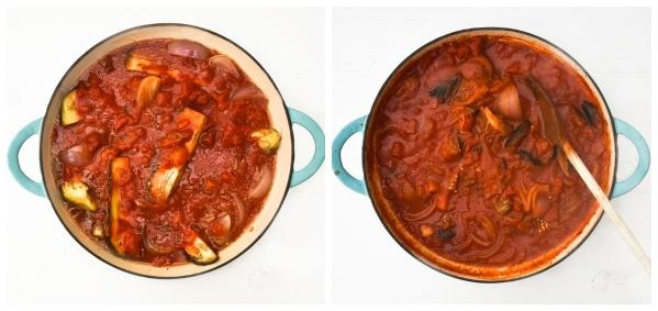 Aubergine Tomato Pasta Sauce - Step 3 - sauce cooked