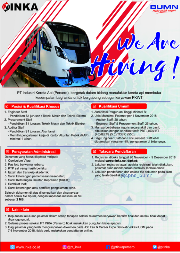 PT Industri Kereta Api (Persero) Hingga 9 Desember 2018