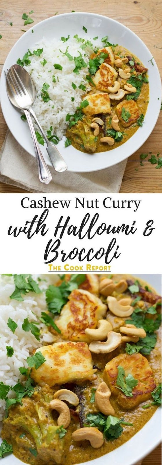 Halloumi Curry with Cashew Nut Sauce and Broccoli