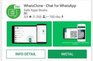 Menyadap whatsapp menggunakan aplikasi Whatsclone