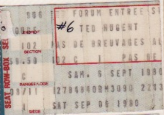 September 6, 1980 - Ted Nugent at the Montreal Forum