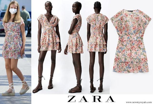 Crown Princess Leonor wore Zara floral print midi dress