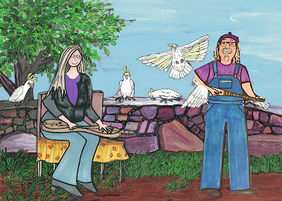 Appalachian Mountain Dulcimer, art by Carla Maxwell, The Holy Moly, Tasma House and Gardens