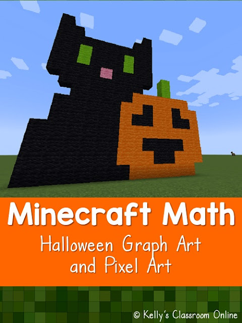 Kids practice their geometry and other math skills when they create Halloween pixel art designs in Minecraft. STEM and STEAM activity. Minecraft math.