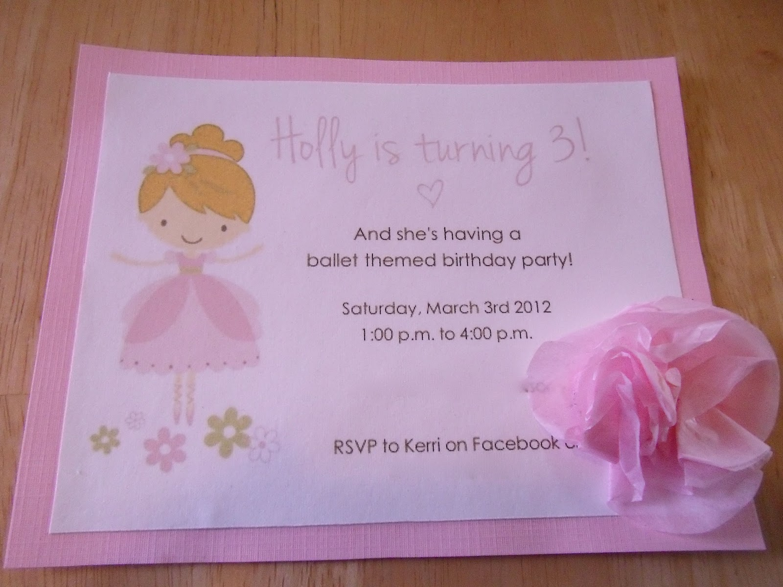 Holly\'s Ballet Themed 3rd Birthday- Part One (Invitations) - Holly ...