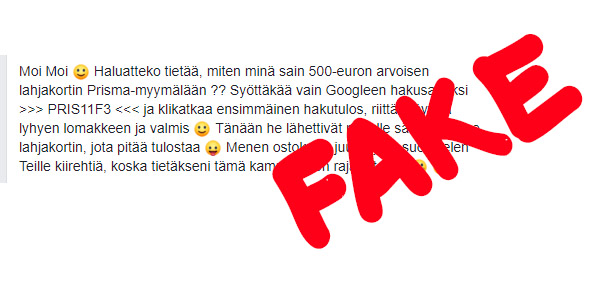 Varo Facebookissa leviävää huijausta: EUROPRISMA500 on kallis tilausansa