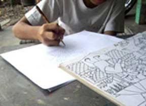Membuat sketsa/menggambar dengan metode mencontoh