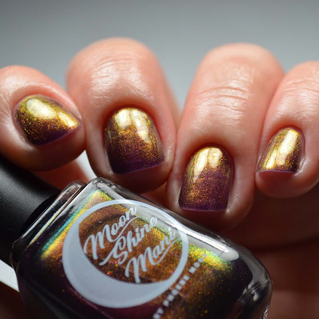 purple multichrome nail polish low light swatch
