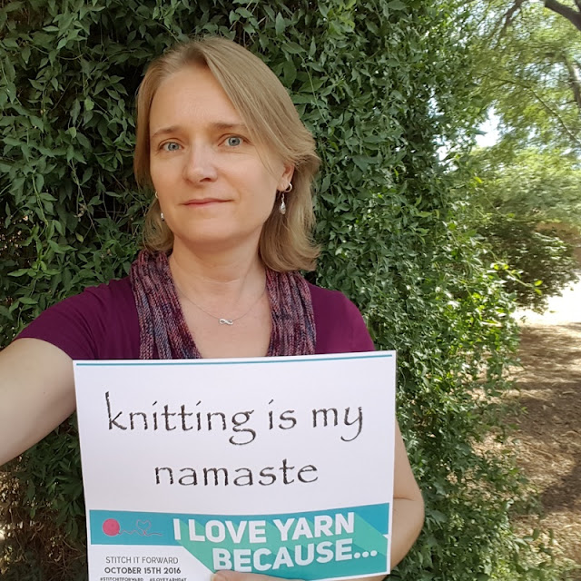 I love yarn because knitting is my namaste. It's something I feel a constant need to do. It's very much a part of me and how I express both my creativity and my love. #iloveyarnday #stitchitforward