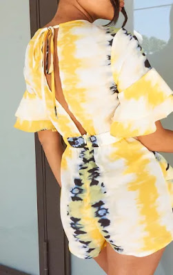 Yellow tie dye frill sleeve tie back playsuit