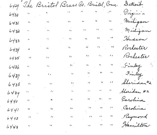 Bristol Brass Company purchase of Aladdin homes 1916 sales list