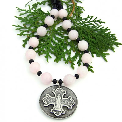 virgin mary and cross necklace with gemstones for women